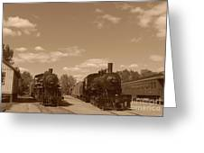 Locomotives In Sepia Greeting Card