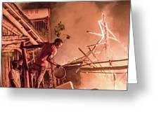 Lodge Fire Greeting Card