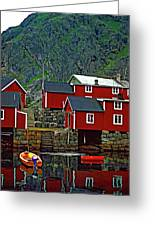 Lofoten Fishing Huts Oil Greeting Card