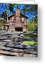 Log Cabin And Wooden Fence At Ninety Six National Historic Site 2 Greeting Card