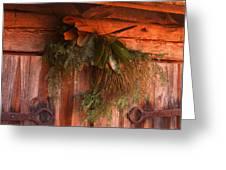 Log Cabin Christmas Decor Greeting Card