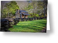 Log Cabin, Smoky Mountains, Tennessee Greeting Card