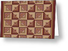 Log Cabin Reds Quilt Greeting Card