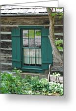 Log Cabin Window Greeting Card