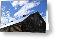 Log Clydesdale Barn Greeting Card