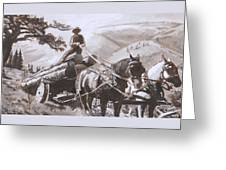 Log Wagon Historical Vignette Greeting Card