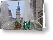 Logan Circle Fountain With City Hall In Backround 2 Greeting Card