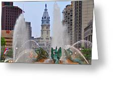 Logan Circle Fountain With City Hall In Backround 4 Greeting Card by Bill Cannon