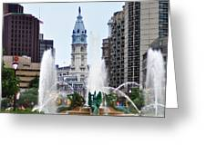 Logan Circle Fountain With City Hall In Backround Greeting Card by Bill Cannon