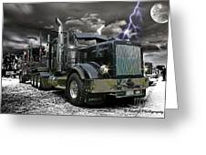 Logger On A Stormy Night Greeting Card