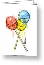 Lollipop Candy Watercolor Greeting Card