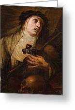 Lombard School, 17th Century Saint Catherine Of Siena Greeting Card