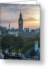 London Big Ben And The Shard Sunrise Greeting Card