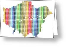 London Boroughs Map - Rainbow Greeting Card
