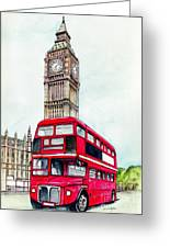 London Bus And Big Ben Greeting Card