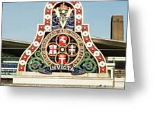 London Chatham And Dover Railway Crest With Invicta Motto Blackfriars Railway Station Greeting Card
