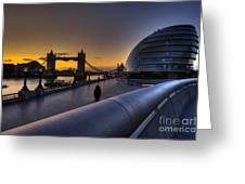 London City Hall Sunrise Greeting Card by Donald Davis