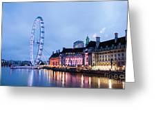 London Eye At Night Greeting Card by Donald Davis