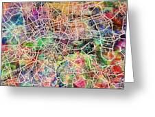 London Map Art Watercolor Greeting Card by Michael Tompsett