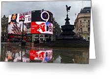 London Piccadilly On A Rainy Day Greeting Card