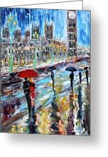 London Rainy Evening Greeting Card