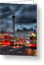 London Red Buses Greeting Card