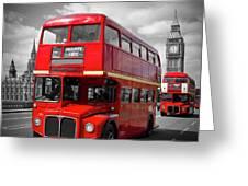 London Red Buses On Westminster Bridge Greeting Card