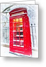 London Red Telephone Booth  Greeting Card