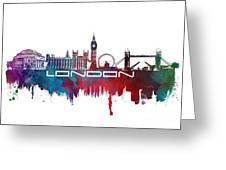 London Skyline City Blue Greeting Card