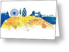 London Skyline Map City London Eye Greeting Card