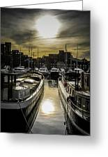 London. St. Katherine Dock. Into The Sun. Greeting Card
