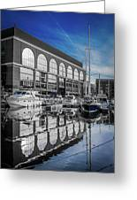London. St. Katherine Dock. Reflections. Greeting Card