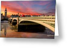 London Sunset Greeting Card