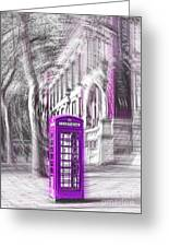 London Telephone Purple Greeting Card
