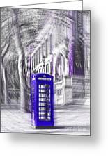 London Telephone Purple Blue Greeting Card