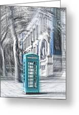 London Telephone Turquoise Greeting Card