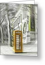 London Telephone Yellow Greeting Card