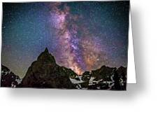 Lone Eagle Peak Dancing In The Milky Way Greeting Card