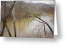 Lone Paddler On The Potomac Greeting Card