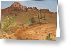 Lone Saguaro In Desert Greeting Card