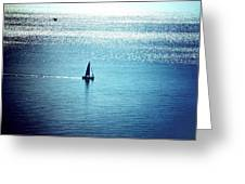 Lone Sailboat At Dawn Greeting Card
