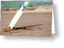 Lone Surfboard Greeting Card