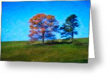 Lone Trees Painting Greeting Card