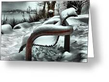 Lonely Bench In Snowfall Greeting Card