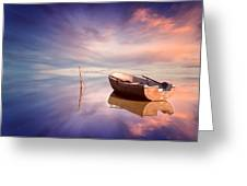 Lonely Boat And Amazing Sunset At The Sea Greeting Card