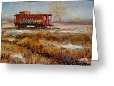 Lonely Caboose Greeting Card