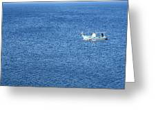 Lonely Fishing Boat Sailing On A Calm Blue Sea Greeting Card