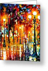 Lonely Night 3 - Palette Knife Oil Painting On Canvas By Leonid Afremov Greeting Card