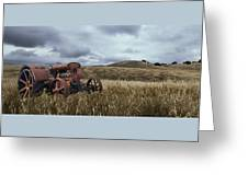 Lonely Tractor Panorama Greeting Card
