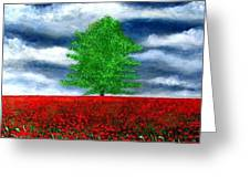 Lonely Tree Amongst Zillions Of Poppies Greeting Card